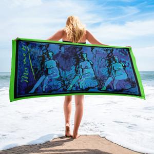 Eduard Manet blue green nude woman batik art  towel by Neoclassical Pop Art