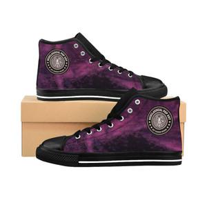 Da Vinci Women's High-top designer Purple Sneakers by Neoclassical Pop Art