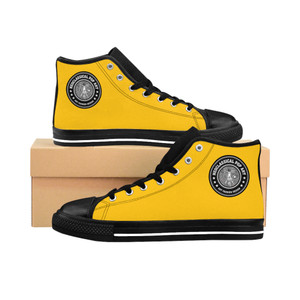 On sale Da Vinci Yellow Men's High-top trendy Sneakers by Neoclassical Pop Art fashion designer online brand store