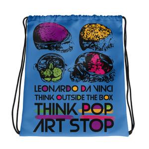 cool blue Drawstring bag  with Neoclassical pop art skull after da vinci skull and da vinci vitruvian man on the back for sale online