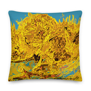 on sale Vincent Van Gogh Sunflowers Yellow and Light Blue decorative Pillows by Neoclassical Pop Art  online designer art fashion design brand shipping worldwide
