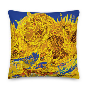 On sale Vincent Van Gogh Sunflowers Yellow and  blue  Decorative Accent Pillows by Neoclassical Pop Art  online art fashion and design brand