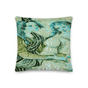 on sale Sandro Botticelli  Army Green Brown Army Green Turquoise  Throw Pillow by Neoclassical pop art  online designer brand
