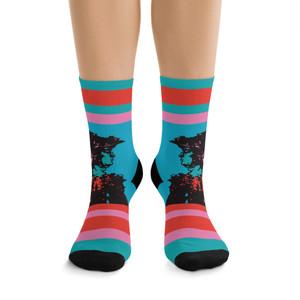 on sale Collectible Leonardo da Vinci Vitruvian Man blue  pink cool art socks by Neoclassical Pop Art online designer brand store