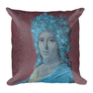 "Jacques-Louis David ""Countess of Neoclassical Pop Art"" Light Blue and Deep burgundy throw pillows by BWM Collection"
