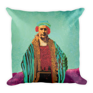 Renbrandt Square Burgundy Coral and Aqua Decorative Pillows by BWM Collection
