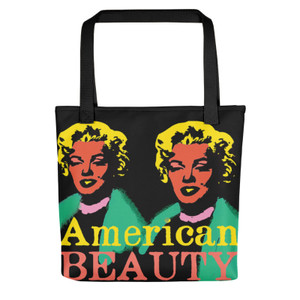 Orange pink green yellow Marilyn Monroe American Beauty Tote Bag for sale online and da vinci neoclassical pop art vitruvian man for sale online