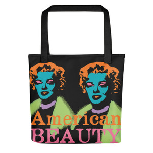 Yellow purple Marilyn Monroe American Beauty Tote Bag for sale online and da vinci neoclassical pop art vitruvian man for sale online
