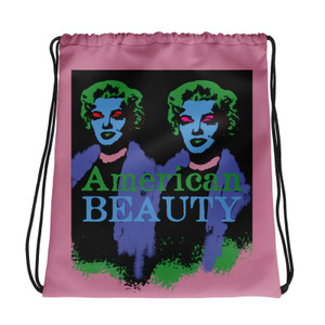 Cool Marilyn Monroe American Beauty pink green purple light blue Neoclassical Pop Art Drawstring bag  with da vinci vitruvian man for sale online.