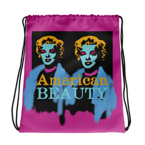 Marilyn Monroe American Beauty pink blue yellow light blue Neoclassical Pop Art cool Drawstring bag  with da vinci vitruvian man for sale online.