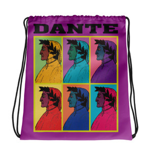 Neoclassical pop art collectible Botticelli  Dante Pink yellow blue green orange cool Drawstring bag  with Leonardo da vinci vitruvian man on the back