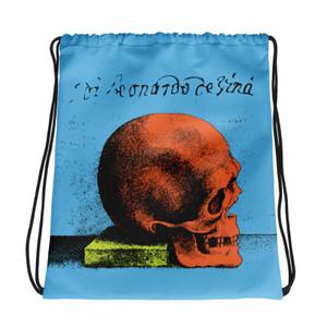 the best light blue orange yellow cool Drawstring bag  with Neoclassical pop art skull after da vinci
