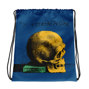 buy online collectible light blue yellow green cool Drawstring bag  with Neoclassical pop art skull after da vinci  and da vinci vitruvian man on the back