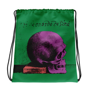 the best green purple red cool Drawstring bag  with Neoclassical pop art skull after da vinci for sale online
