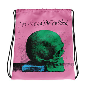 buy online light pink blue green cool Drawstring bag  with Neoclassical pop art skull after da vinci  and da vinci vitruvian man on the back