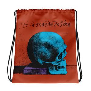 buy online orange blue purple cool Drawstring bag  with Neoclassical pop art skull after da vinci  and da vinci vitruvian man on the back
