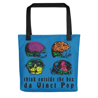 Light blue pink yellow neoclassical pop art anatomy brain think out side the box fun tote bag