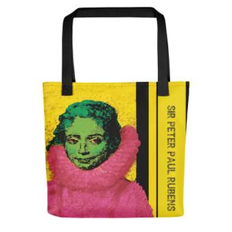 Sir Peter Paul Rubens Bella Isabella and da vinci Vitruvian man red yellow Tote bag for sale online