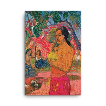 On Sale Paul  Gauguin Red Woman Holding a Fruit Oil on Canvas by Neoclassical Pop Art