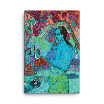On Sale Paul  Gauguin Blue Woman Holding a Fruit Oil on Canvas by Neoclassical Pop Art