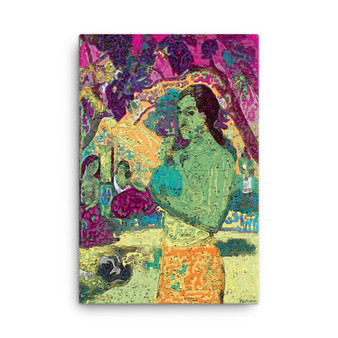 On Sale Paul  Gauguin Green Woman Holding a Fruit Oil on Canvas by Neoclassical Pop Art