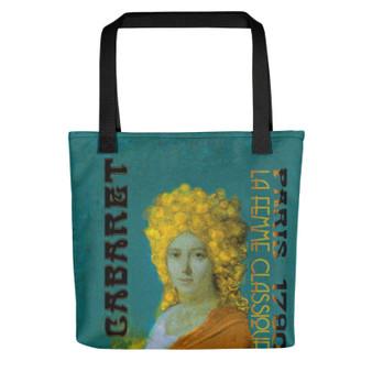 cool Jacques-Louis David Neoclassical pop art Paris 1790 Cabaret orange green Tote bag on sale online for woman and man