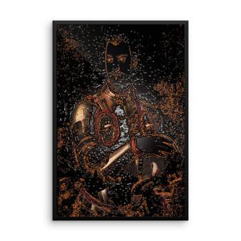 On Sale Bronzino Duck Cosimo Portrait Black Orange Bronze Framed Poster by Neoclassical Pop Art