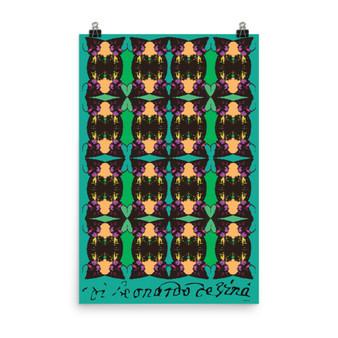 On Sale Leonardo Da Vinci Warrior Green Yellow Pop Poster by Neoclassical Pop Art