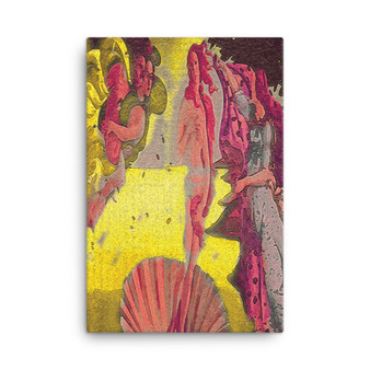 On Sale The Birth of Venus Yellow Red Ocher Oil on Canvas by Neoclassical Pop Art