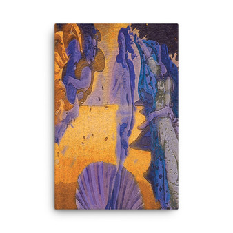 On Sale  Botticelli The Birth of Venus Amber Lilac & Purple Pop Print on Canvas by Neoclassical Pop Art