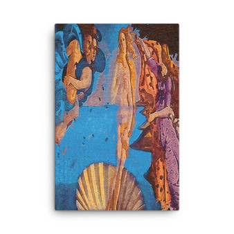 On Sale The Birth of Venus Yellow Blue Orange Oil on Canvas by Neoclassical Pop Art