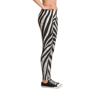 On Sale Abstract Black and White Zebra Pattern Legging by Neoclassical Pop Art