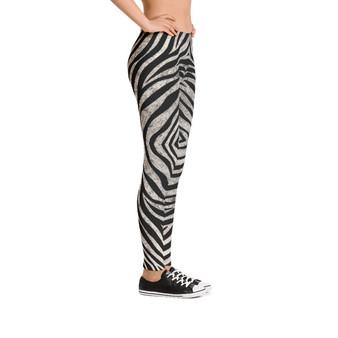 On Sale Black and White Zebra Pattern Leggings by Neoclassical Pop Art