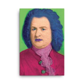 On Sale Johann Sebastian Bach Pop Art Portrait in Green Blue Bordo Oil on Canvas by Neoclassical Pop Art
