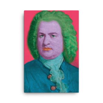 On Sale Johann Sebastian Bach Pink Green Blue Baroque POP Portrait by Neoclassical Pop Art