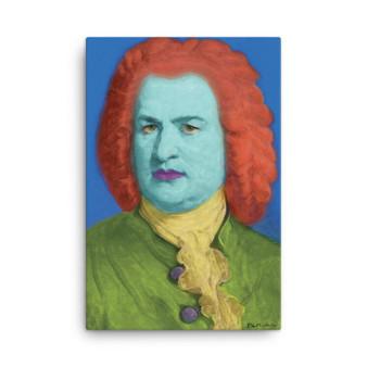 Johann Sebastian Bach Pop Art Portrait in Green Blue Yellow Orange