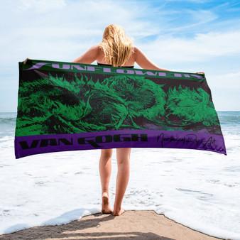 Van gogh sunflowers purple green cute beach towels by Neoclassical pop art
