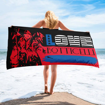 buy Sandro Botticelli beach towels  by BWM Collection. check this blue red white Neoclasical Pop Art American Flag  beach towel