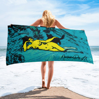 Eduard  collectible Manet  Blue yellow designer beach towels by Neoclassical pop art