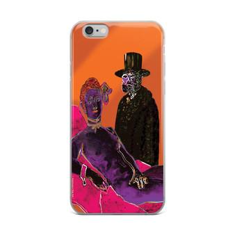 Orange Purple Pink Nude Olympia Eduard Manet iPhone cases by Neoclassical Pop Art