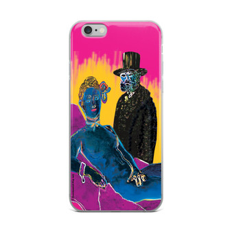 Pink Yellow Blue Eduard Manet Olympia iPhone case by Neoclassical pop art