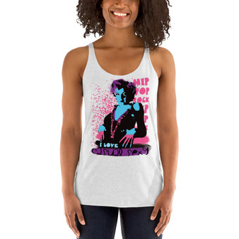 white pink blue Marilyn Monroe  I love Hip Pop Rock  typography art Women's Racerback Tank by Neoclassical pop art