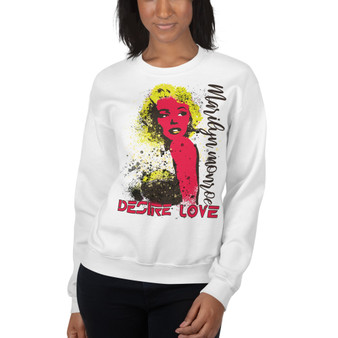 Marilyn Monroe Yellow Red Desire Love Unisex Sweatshirt by Neoclassical pop art