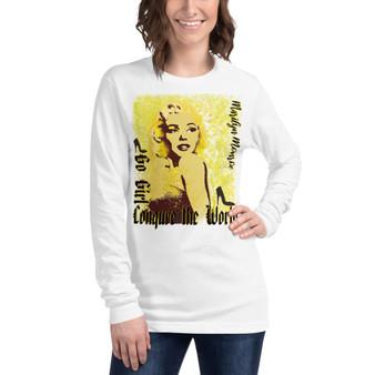 Marilyn Monroe Go Girl Unisex Long Sleeve Tee by Neoclassical pop art