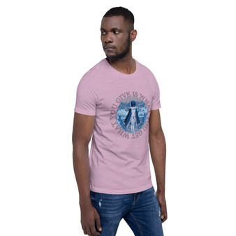 Leonardo Da Vinci Vitruvian man What You Give Is What You Take Short-Sleeve light pink blue Unisex T-Shirt by Neoclassical pop art designer brand online store