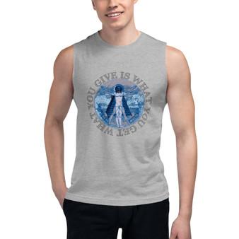 Da Vinci What You Give Is What You Get Vitruvian Man Muscle Shirt by Neoclassical pop art