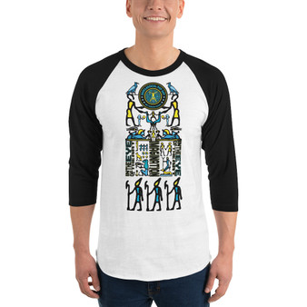 on sale Leonardo Da Vinci eye of Ra hieroglyph composition funky 3/4 sleeve raglan shirt by Neoclassical Pop Art