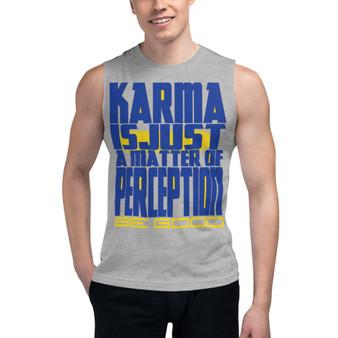 Spiritual blue yellow Karma Muscle Shirt by neoclassical pop art