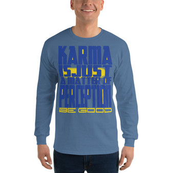 blue on sale Spiritual Karma Men's Long Sleeve Shirt by neoclassical pop art