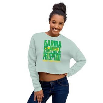 on sale light green Spiritual Karma Crop Sweatshirt Neoclassical Pop Art